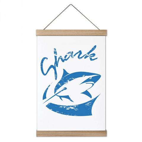 Mavi Shark Köpek Balığı tasarım dekoratif ahşap çerçeveli kanvas poster. Dalgıçlara, dalış ve scuba diving severlere en güzel hediye modern kanvas poster duvar tabloları.