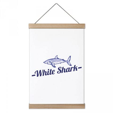 Beyaz Köpek Balığı tasarım dekoratif ahşap çerçeveli kanvas poster. Dalgıçlara, dalış ve scuba diving severlere en güzel hediye modern kanvas poster duvar tabloları.