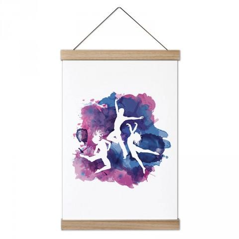 Sulu Boya Dans Deseni tasarım dekoratif ahşap çerçeveli kanvas poster tablo modelleri. Dansçılara ve dans severlere en güzel hediye modern kanvas poster duvar tabloları.