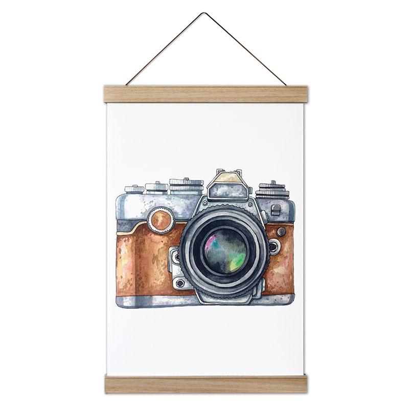 Sulu Boya Fotograf Makinesi Tasarim Kanvas Poster Tablo Mespho