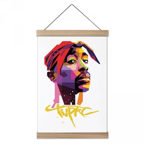 Tupac Resim ve Yazılı Renkli tasarım dekoratif ahşap çerçeveli kanvas poster. Müzisyenlere ve müzik severlere en güzel hediye modern kanvas müzik posterleri.