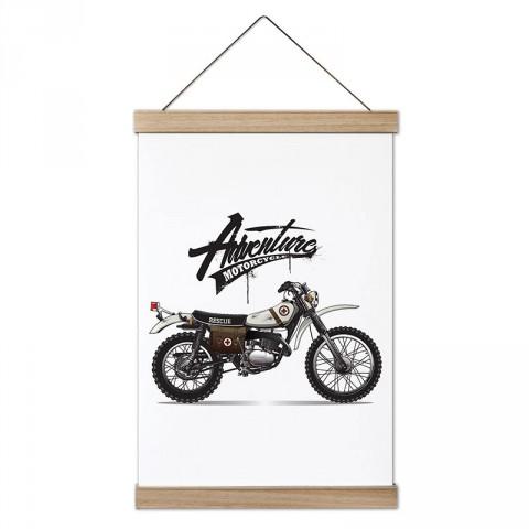 Rescue Adventure Motosiklet tasarım dekoratif ahşap çerçeveli kanvas poster. Motorculara ve motor severlere en güzel hediye kanvas poster tablo modelleri.