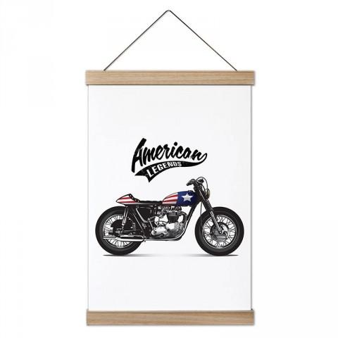 Çıplak Motosiklet American Legends tasarım dekoratif ahşap çerçeveli kanvas poster. Motorculara ve motor severlere en güzel hediye kanvas poster tablo modelleri.