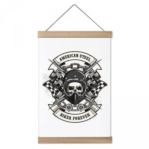 Biker Forever Motorcu Kuru kafa tasarım dekoratif ahşap çerçeveli kanvas poster. Motorculara ve motor severlere en güzel hediye kanvas poster tablo modelleri.