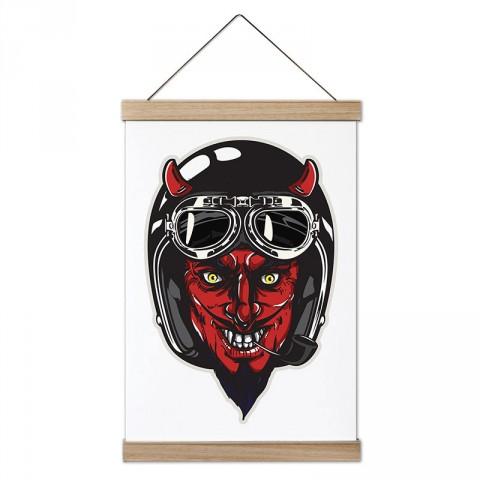 Kasklı Kırmızı Şeytan Motosiklet tasarım dekoratif ahşap çerçeveli kanvas poster. Motorculara ve motor severlere en güzel hediye kanvas poster tablo modelleri.