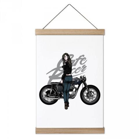 Cafe Racer Motosiklet Kadın Sürücü tasarım dekoratif ahşap çerçeveli kanvas poster. Motorculara ve motor severlere en güzel hediye kanvas poster tablo modelleri.
