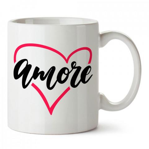 Amore Aşk tasarım baskılı porselen kupa bardak (mug). Sevgiliye hediye aşk içerikli kupa bardaklar. Sevgiliye en güzel hediye kupa. Sevgili için kahve kupası.