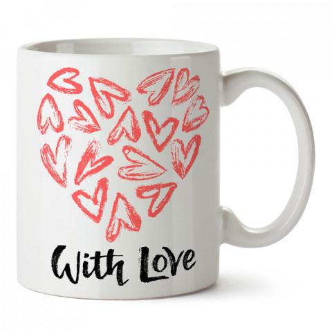 Aşk İle Yazılı Kalp tasarım baskılı porselen kupa bardak (mug). Sevgiliye hediye aşk içerikli kupa bardaklar. Sevgiliye en güzel hediye kupa. Sevgili için kahve kupası.