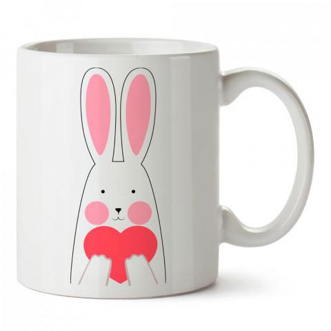 Aşk Tavşanı tasarım baskılı porselen kupa bardak (mug). Sevgiliye hediye aşk içerikli kupa bardaklar. Sevgiliye en güzel hediye kupa. Sevgili için kahve kupası.