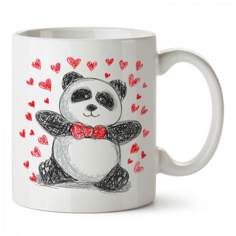Çizim Panda ve Kapler tasarım baskılı porselen kupa bardak (mug). Sevgiliye hediye aşk içerikli kupa bardaklar. Sevgiliye en güzel hediye kupa. Sevgili için kahve kupası.