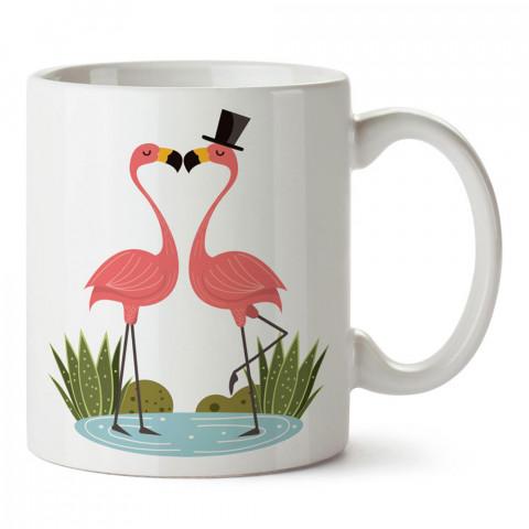 Flamingo Sevgililer tasarım baskılı porselen kupa bardak (mug). Sevgiliye hediye aşk içerikli kupa bardaklar. Sevgiliye en güzel hediye kupa. Sevgili için kahve kupası.