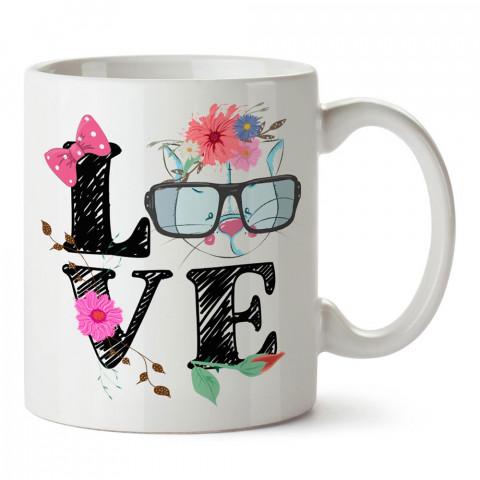 Gözlüklü Kedi Love tasarım baskılı porselen kupa bardak (mug). Sevgiliye hediye aşk içerikli kupa bardaklar. Sevgiliye en güzel hediye kupa. Sevgili için kahve kupası.