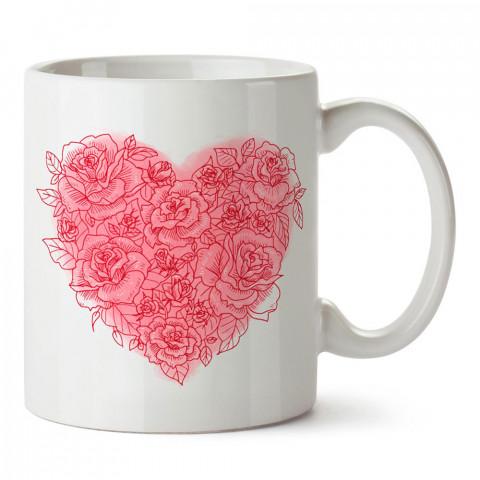 Güller ve Kalp tasarım baskılı porselen kupa bardak (mug). Sevgiliye hediye aşk içerikli kupa bardaklar. Sevgiliye en güzel hediye kupa. Sevgili için kahve kupası.