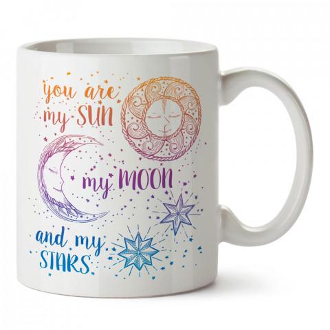 Güneşim Ayım Yıldızım tasarım baskılı porselen kupa bardak (mug). Sevgiliye hediye aşk içerikli kupa bardaklar. Sevgiliye en güzel hediye kupa. Sevgili için kahve kupası.