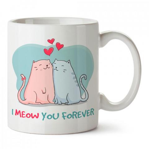 I Meow You tasarım baskılı porselen kupa bardak (mug). Sevgiliye hediye aşk içerikli kupa bardaklar. Sevgiliye en güzel hediye kupa. Sevgili için kahve kupası.