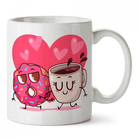 Kahve ve Donut Aşkı tasarım baskılı porselen kupa bardak (mug). Sevgiliye hediye aşk içerikli kupa bardaklar. Sevgiliye en güzel hediye kupa. Sevgili için kahve kupası.