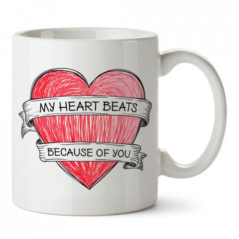 Kalbim Senin İçin Atıyor tasarım baskılı kupa bardak (mug). Sevgiliye hediye aşk içerikli kupa bardaklar. Sevgiliye en güzel hediye kupa. Sevgili için kahve kupası.