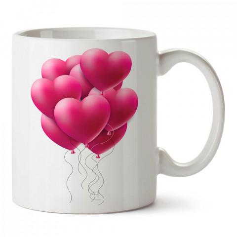 Kalp Balonlar tasarım baskılı porselen kupa bardak (mug). Sevgiliye hediye aşk içerikli kupa bardaklar. Sevgiliye en güzel hediye kupa. Sevgili için kahve kupası.