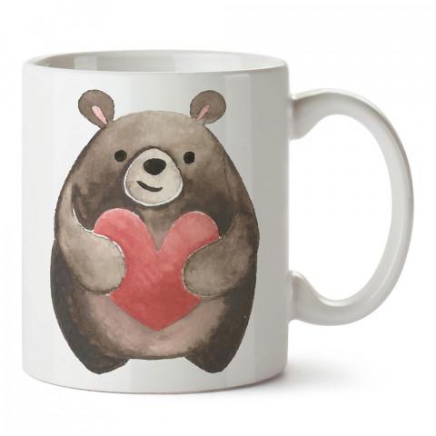 Kalpli Ayıcık tasarım baskılı porselen kupa bardak (mug). Sevgiliye hediye aşk içerikli kupa bardaklar. Sevgiliye en güzel hediye kupa. Sevgili için kahve kupası.
