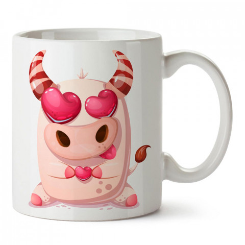 Kalpli Domuzcuk tasarım baskılı porselen kupa bardak (mug). Sevgiliye hediye aşk içerikli kupa bardaklar. Sevgiliye en güzel hediye kupa. Sevgili için kahve kupası.