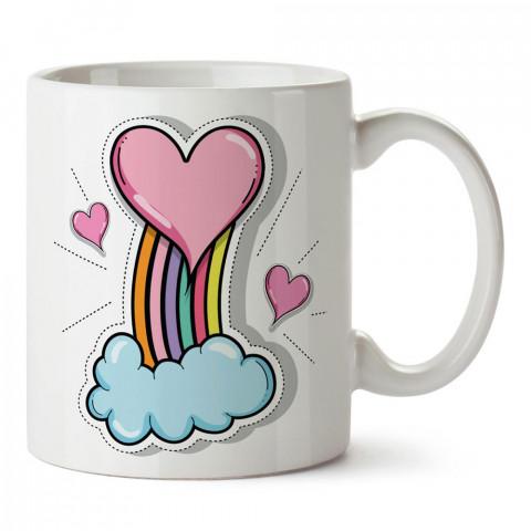 Kalp Sticker Efekt tasarım baskılı porselen kupa bardak (mug). Sevgiliye hediye aşk içerikli kupa bardaklar. Sevgiliye en güzel hediye kupa. Sevgili için kahve kupası.
