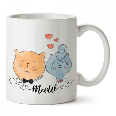 Karı Koca Kedi tasarım baskılı porselen kupa bardak (mug). Sevgiliye hediye aşk içerikli kupa bardaklar. Sevgiliye en güzel hediye kupa. Sevgili için kahve kupası.
