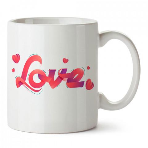 Kurdele Love tasarım baskılı porselen kupa bardak (mug). Sevgiliye hediye aşk içerikli kupa bardaklar. Sevgiliye en güzel hediye kupa. Sevgili için kahve kupası.