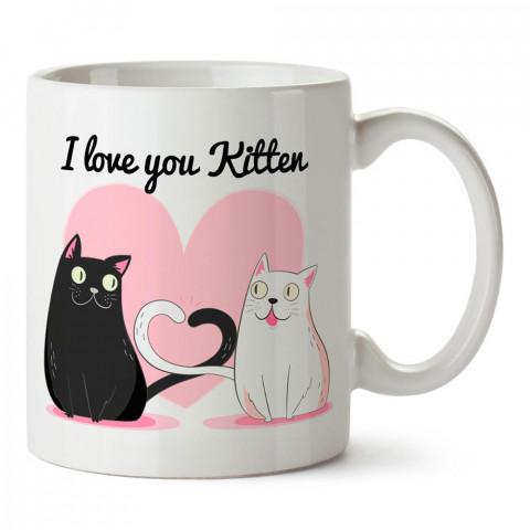 Seni Seviyorum Yavru Kedi tasarım baskılı kupa bardak (mug). Sevgiliye hediye aşk içerikli kupa bardaklar. Sevgiliye en güzel hediye kupa. Sevgili için kahve kupası.