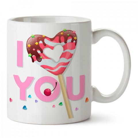 Şekerleme I Love You tasarım baskılı porselen kupa bardak (mug). Sevgiliye hediye aşk içerikli kupa bardaklar. Sevgiliye en güzel hediye kupa. Sevgili için kahve kupası.