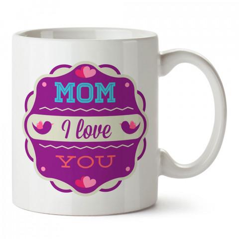 Seni Seviyorum Anne Mor Renkli tasarım baskılı kupa bardak (mug). En güzel Anneler Günü hediyesi kupa bardak. Anneye en güzel hediye kupa bardak. Anneye hediyelik kupa.