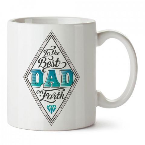 Yeryüzündeki En İyi Babaya tasarım baskılı kupa bardak (mug). En güzel Babalar Günü hediyesi porselen kupa bardak. Babaya en güzel hediye kupa. Babalara hediyelik kupa.