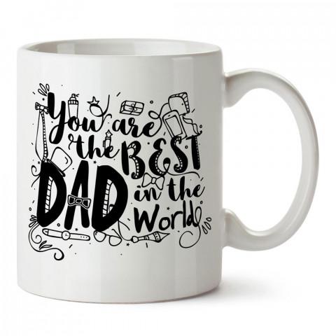 Sen Dünyadaki En İyi Babasın tasarım baskılı kupa bardak (mug). En güzel Babalar Günü hediyesi porselen kupa bardak. Babaya en güzel hediye kupa. Babalara hediyelik kupa.
