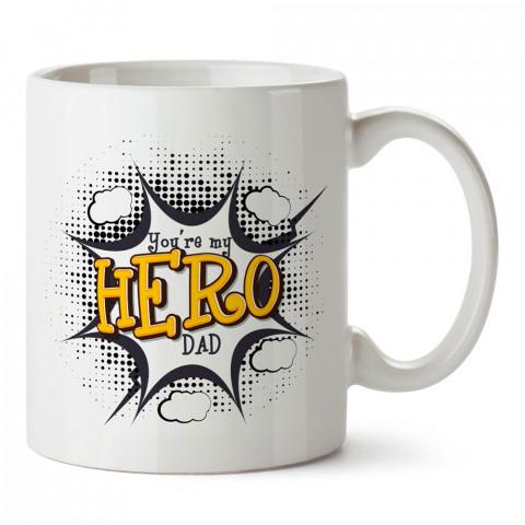 Sen Benim Kahramanımsın Baba tasarım baskılı kupa bardak (mug). En güzel Babalar Günü hediyesi porselen kupa bardak. Babaya en güzel hediye kupa. Babalara hediyelik kupa.