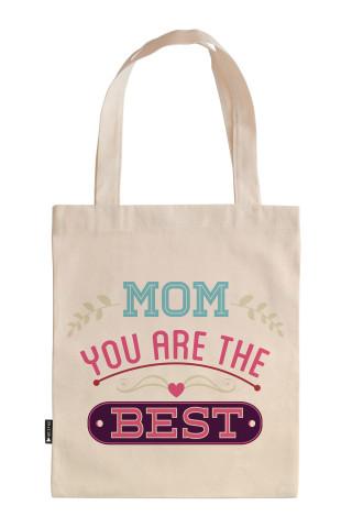 Anne Sen En İyisisin tasarım baskılı 35x40 ham bez çanta. Annelere hediye ham bez çanta. Anneler günü hediyesi bez çanta. Anneye hediye ham bez market omuz çantası.