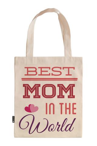 Dünyanın En iyi Annesi tasarım baskılı 35x40 ham bez çanta. Annelere hediye ham bez çanta. Anneler günü hediyesi bez çanta. Anneye hediye ham bez market omuz çantası.