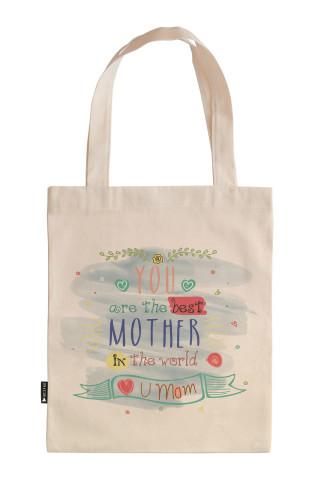 Sen Dünyadaki En İyi Annesin tasarım baskılı 35x40 ham bez çanta. Annelere hediye bez çanta. Anneler günü hediyesi bez çanta. Anneye hediye ham bez market omuz çantası.