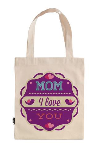 Seni Seviyorum Anne Mor Renkli tasarım baskılı 35x40 ham bez çanta. Annelere hediye bez çanta. Anneler günü hediyesi bez çanta. Anneye hediye ham bez market omuz çantası.