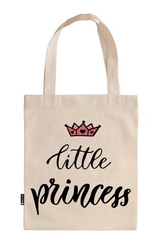 Küçük Prenses doğum günü hediyesi tasarım baskılı ham bez çanta. Hediyelik ham bez çantalar. Organik baskılı 35x40 doğal ham bez çanta modelleri. Alışveriş çantası.