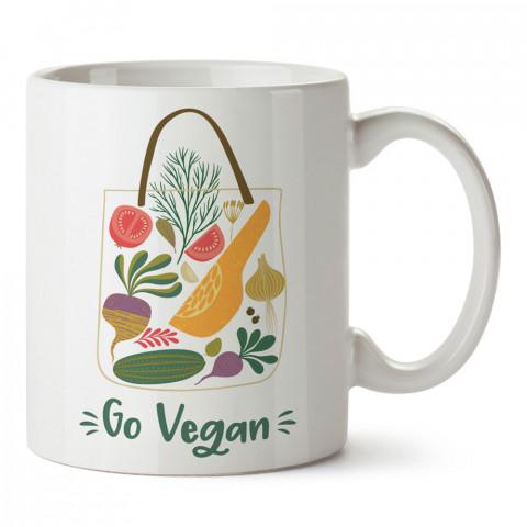 Vegan Ol Go Vegan tasarım baskılı kupa bardaklar. Vejetaryene ve vegana hediyelik mug bardak. Vegan tasarım kahve kupası. Vegan ve vejetaryenlere hediye fikirleri.