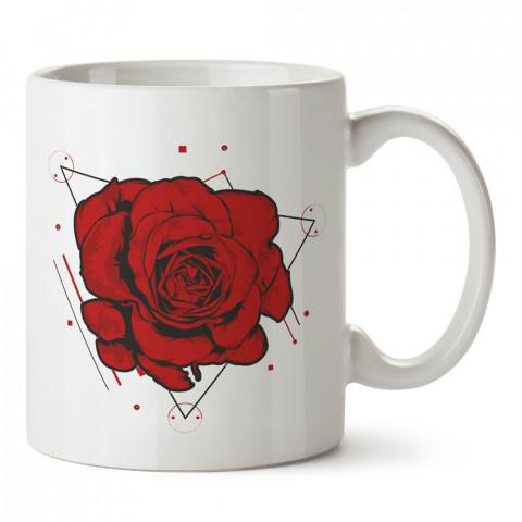 Geometrik Şekilli Kırmızı Gül tasarım baskılı porselen kupa bardak (mug). Sevgiliye hediye kalpli kupa bardaklar. Sevgiliye en güzel hediye kupa. Sevgiliye kahve kupası.