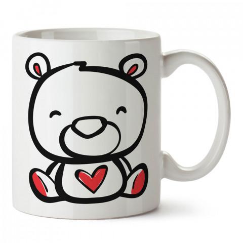 Kalpli Ayıcık Teddy Bear tasarım baskılı porselen kupa bardak (mug). Sevgiliye hediye aşk içerikli kupa bardaklar. Sevgiliye en güzel hediye kupa. Sevgiliye kahve kupası.