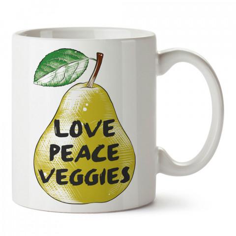 Love peace Veggies tasarım baskılı kupa bardaklar. Vejetaryene ve vegana hediyelik mug. Vegan tasarım kahve kupası. Vegan ve vejetaryenlere hediye fikirleri. Veganizm.