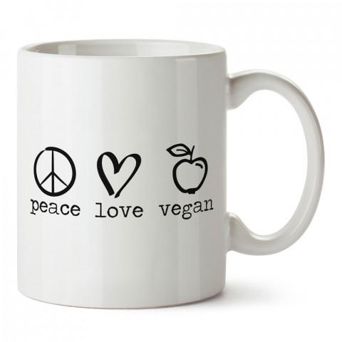 Peace Love Vegan tasarım baskılı kupa bardaklar. Vejetaryene ve vegana hediyelik mug bardak. Vegan kahve kupası. Vegan ve vejetaryenlere hediye fikirleri. Veganizm.