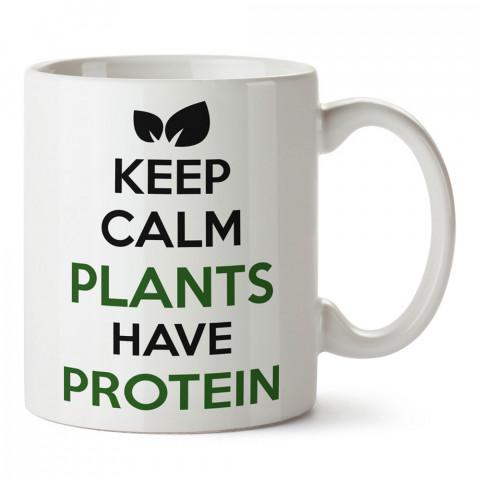 Plants Have Protein Vegan tasarım baskılı kupa bardaklar. Vejetaryene ve vegana hediyelik mug bardak. Vegan tasarım kahve kupası. Vegan ve vejetaryen hediye fikirleri.