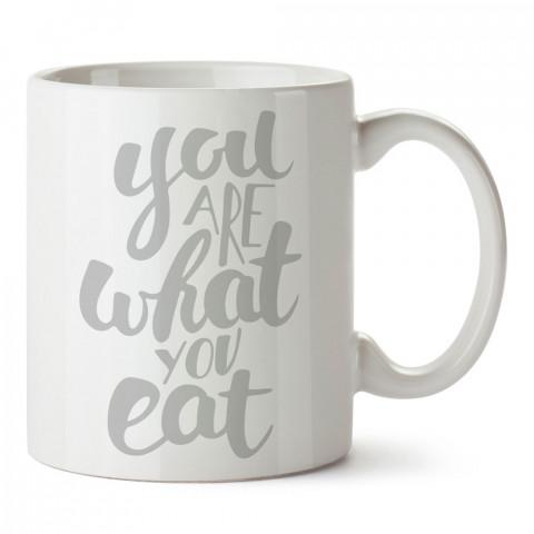 You Are What You Eat Vegan tasarım baskılı kupa bardaklar. Vejetaryene ve vegana hediyelik mug bardak. Vegan tasarım fincan. Vegan ve vejetaryenlere hediye fikirleri.