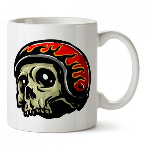 Alev Kasklı Motorcu Kuru Kafa tasarım baskılı kupa bardaklar. Kuru Kafa hediyelik mug bardak. Skull tasarım kahve kupası. Kuru Kafa hediye fikirleri. Kuru Kafa resim.