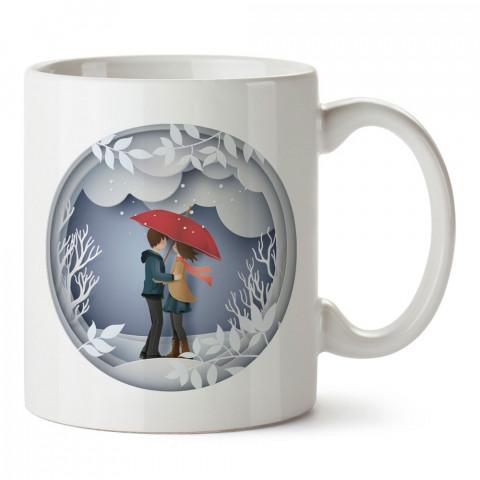 Kar Küresi Sevgililer tasarım baskılı porselen kupa bardak (mug). Sevgiliye hediye aşk içerikli kupa bardaklar. Sevgiliye en güzel hediye kupa. Sevgiliye kahve kupası.
