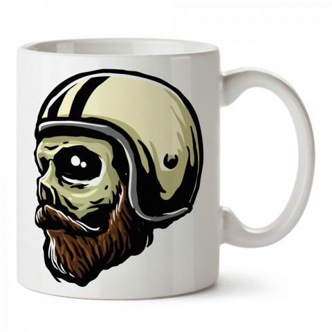 Beyaz Kasklı Motorcu Kuru Kafa tasarım baskılı kupa bardaklar. Kuru Kafa hediyelik mug bardak. Skull tasarım kahve kupası. Kuru Kafa hediye fikirleri. Kuru Kafa resim.