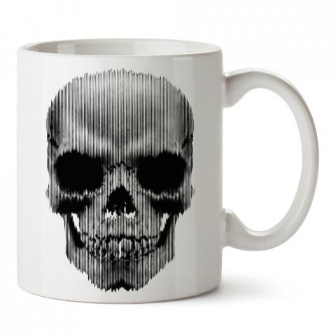Çizgili Kuru Kafa tasarım baskılı kupa bardaklar. Kuru Kafa hediyelik mug bardak. Skull tasarım kahve kupası. Kuru Kafa hediye fikirleri. Kuru Kafa resim.