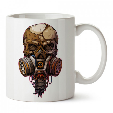 Gaz Maskeli Kafa tasarım baskılı kupa bardaklar. Kuru Kafa hediyelik mug bardak. Skull tasarım kahve kupası. Kuru Kafa hediye fikirleri. Kuru Kafa resim.